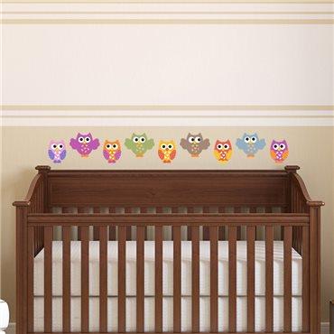 Sticker Hiboux drôles - stickers chambre bébé & stickers enfant - fanastick.com
