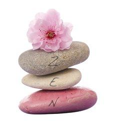 Sticker ZEN Tour de galets avec sakura fleurs
