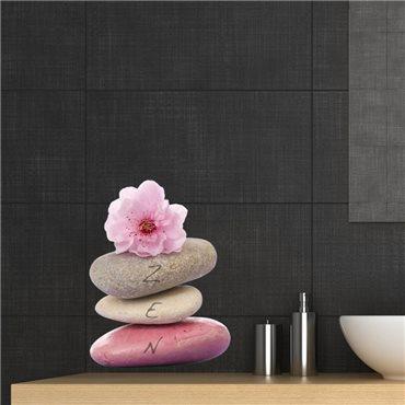 Sticker ZEN Tour de galets avec sakura fleurs - stickers zen & stickers muraux - fanastick.com