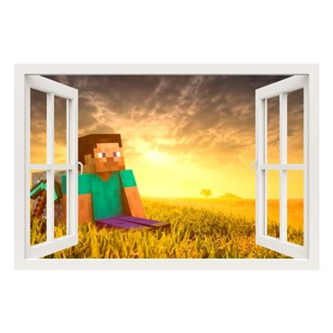 Sticker  Minecraft game, Steve et le lever du soleil - stickers trompe l oeil & stickers muraux - fanastick.com