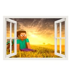 Sticker  Minecraft game, Steve et le lever du soleil