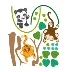 Sticker set animaux jungle