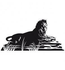 Sticker Lion sur rocher