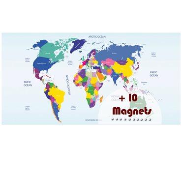 Sticker magnétique carte du monde - stickers magnétiques & stickers muraux - fanastick.com
