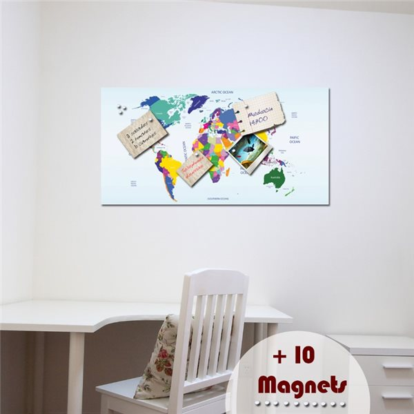 sticker magn tique carte du monde stickers magn tiques stickers muraux. Black Bedroom Furniture Sets. Home Design Ideas