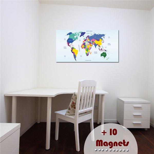 sticker magn tique carte du monde stickers magn tiques stickers muraux. Black Bedroom Furniture Sets. Home Design Ideas