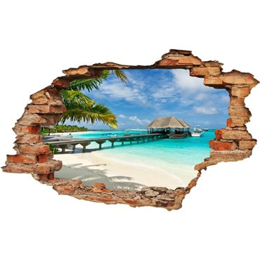 Sticker  trompe l'oeil Plage, palms et bungalow - import2503 & stickers muraux - fanastick.com
