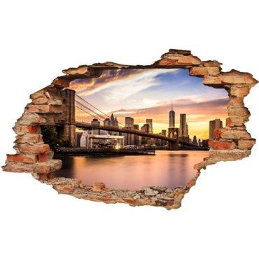 Sticker trompe l'oeil Brooklyn Bridge - import2503 & stickers muraux - fanastick.com