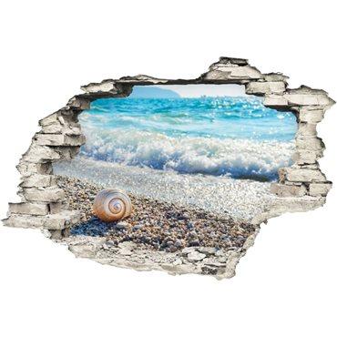 Sticker  Trompe l'œil Coquillages, sables, mer bleue - stickers trompe l oeil & stickers muraux - fanastick.com