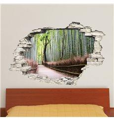 Sticker Trompe l'œil Forêt de bambou