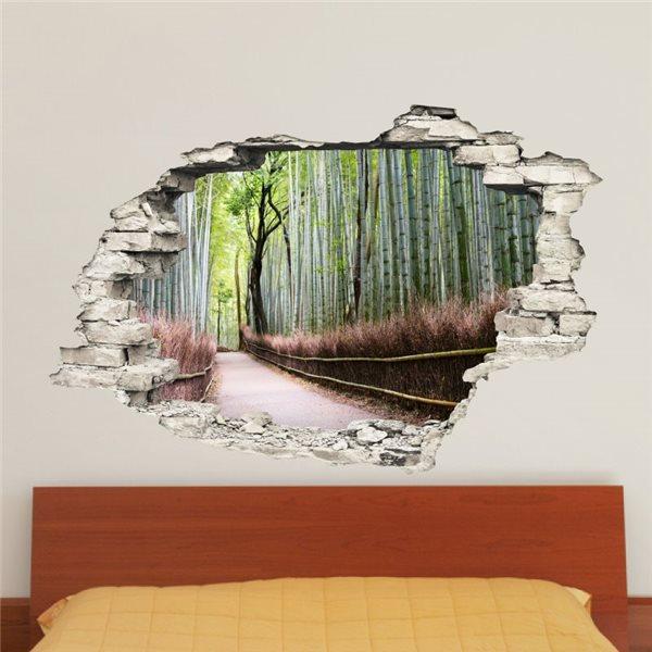 sticker trompe l 39 il for t de bambou stickers trompe l oeil stickers muraux. Black Bedroom Furniture Sets. Home Design Ideas
