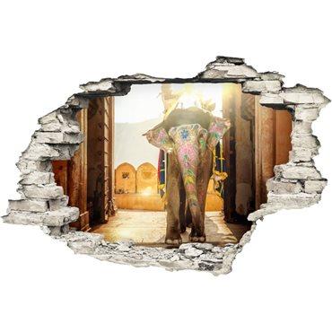 Sticker Trompe l'œil Design éléphant royale d'Inde - stickers trompe l oeil & stickers muraux - fanastick.com