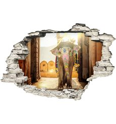 Sticker Trompe l'œil Design éléphant royale d'Inde