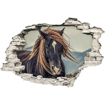 Sticker Trompe l'œil Un cheval de prairie - stickers trompe l oeil & stickers muraux - fanastick.com