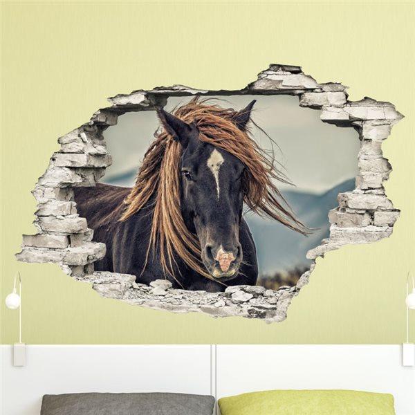 sticker trompe l 39 il un cheval de prairie stickers trompe l oeil stickers muraux. Black Bedroom Furniture Sets. Home Design Ideas