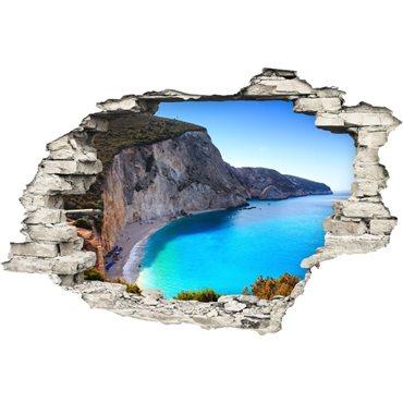 Sticker  Trompe l'œil Plage, falaise, mer bleue - stickers trompe l oeil & stickers muraux - fanastick.com