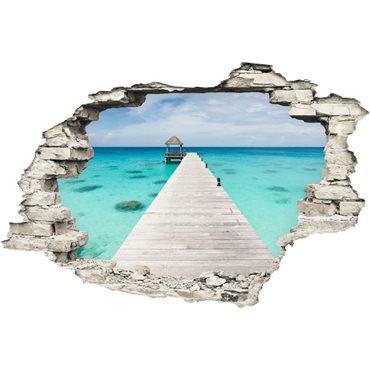 Sticker Trompe l'œil Vue sur la mer bleue - stickers trompe l oeil & stickers muraux - fanastick.com