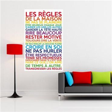 Sticker poster les règles de la maison multicolore - stickers citations & stickers muraux - fanastick.com