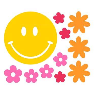 Sticker smiley avec petites fleurs - import2503 & stickers muraux - fanastick.com
