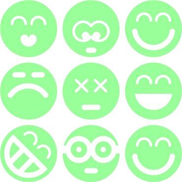 Sticker phosphorescent  smileys groupe - stickers phosphorescent & stickers muraux - fanastick.com