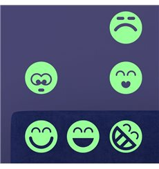 Sticker phosphorescent  smileys groupe