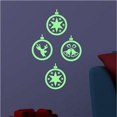 Sticker phosphorescent Noël boules de déco
