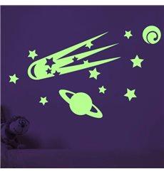 Sticker phosphorescents avec comètes et planètes