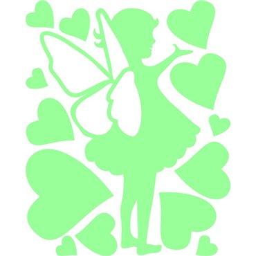 Sticker petite fée avec des coeurs phosphorescent - stickers phosphorescent & stickers muraux - fanastick.com