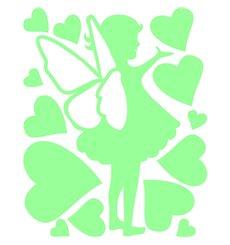 Sticker petite fée avec des coeurs phosphorescent