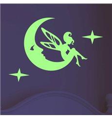 Sticker phosphorescent fée sur la lune