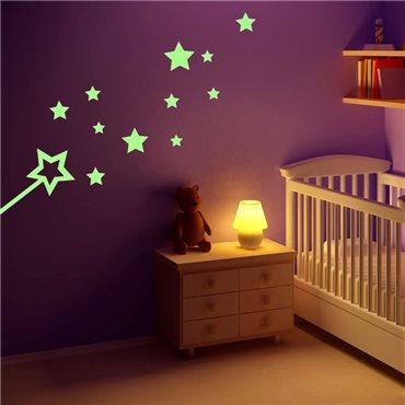 Sticker Phosphorescent Baguette et Étoiles - stickers phosphorescent & stickers muraux - fanastick.com