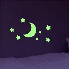 Sticker Phosphorescent Lune et Étoiles