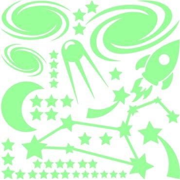 Sticker phosphorescent Fusée dans l'espace - stickers phosphorescent & stickers muraux - fanastick.com