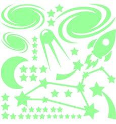Sticker phosphorescent Fusée dans l'espace