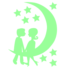 Sticker Phosphorescent Silhouette couple sur la lune