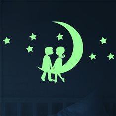 Sticker Phosphorescent Silhouette couple sur la lune
