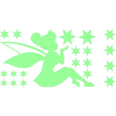 Sticker Phosphorescent Fée partageant étoiles - stickers phosphorescent & stickers muraux - fanastick.com
