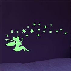 Sticker Phosphorescent Fée partageant étoiles