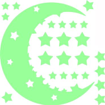 Sticker Phosphorescent Ciel étoilés et lune - stickers phosphorescent & stickers muraux - fanastick.com