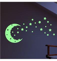 Sticker Phosphorescent Ciel étoilés et lune