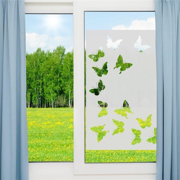 sticker vinyle sabl pour vitre papillons 85x55cm stickers vitre stickers muraux. Black Bedroom Furniture Sets. Home Design Ideas