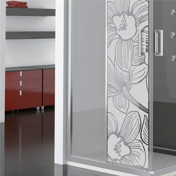 sticker vinyle sabl pour vitre fleur d 39 orchid e 185x55cm stickers vitre stickers muraux. Black Bedroom Furniture Sets. Home Design Ideas