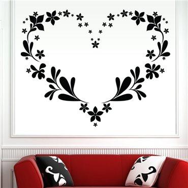 Sticker Coeur en contour de feuilles - stickers amour & stickers muraux - fanastick.com