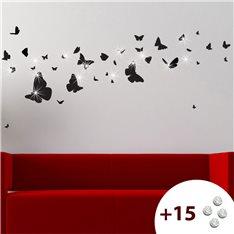 Sticker nuée de papillons +15 cristaux Swarovski