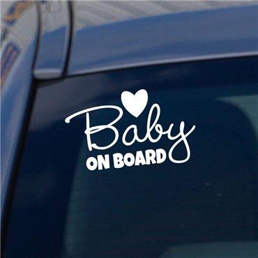Sticker Bébé à bord coeur - stickers bébé à bord & stickers muraux - fanastick.com