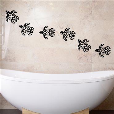 Sticker Chaîne de tortue - stickers salle de bain & stickers muraux - fanastick.com