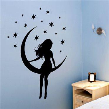 Sticker petite fille sur lune - stickers chambre fille & stickers enfant - fanastick.com