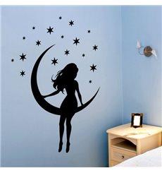 Sticker petite fille sur lune