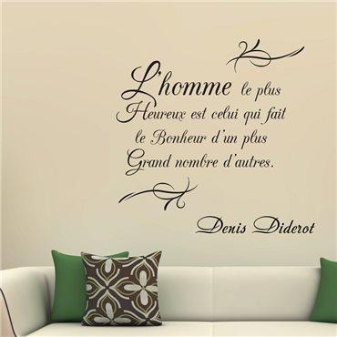 Sticker L'homme le plus heureux... D. Diderot - stickers citations & stickers muraux - fanastick.com