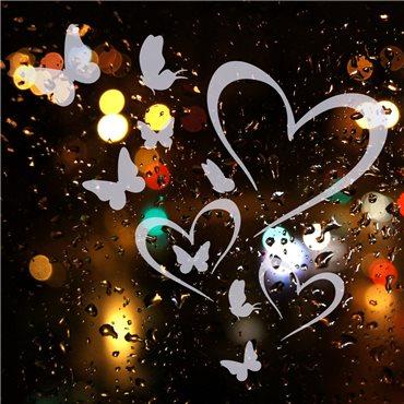 Sticker électrostatiques Coeurs et papillons - stickers vitre & stickers muraux - fanastick.com
